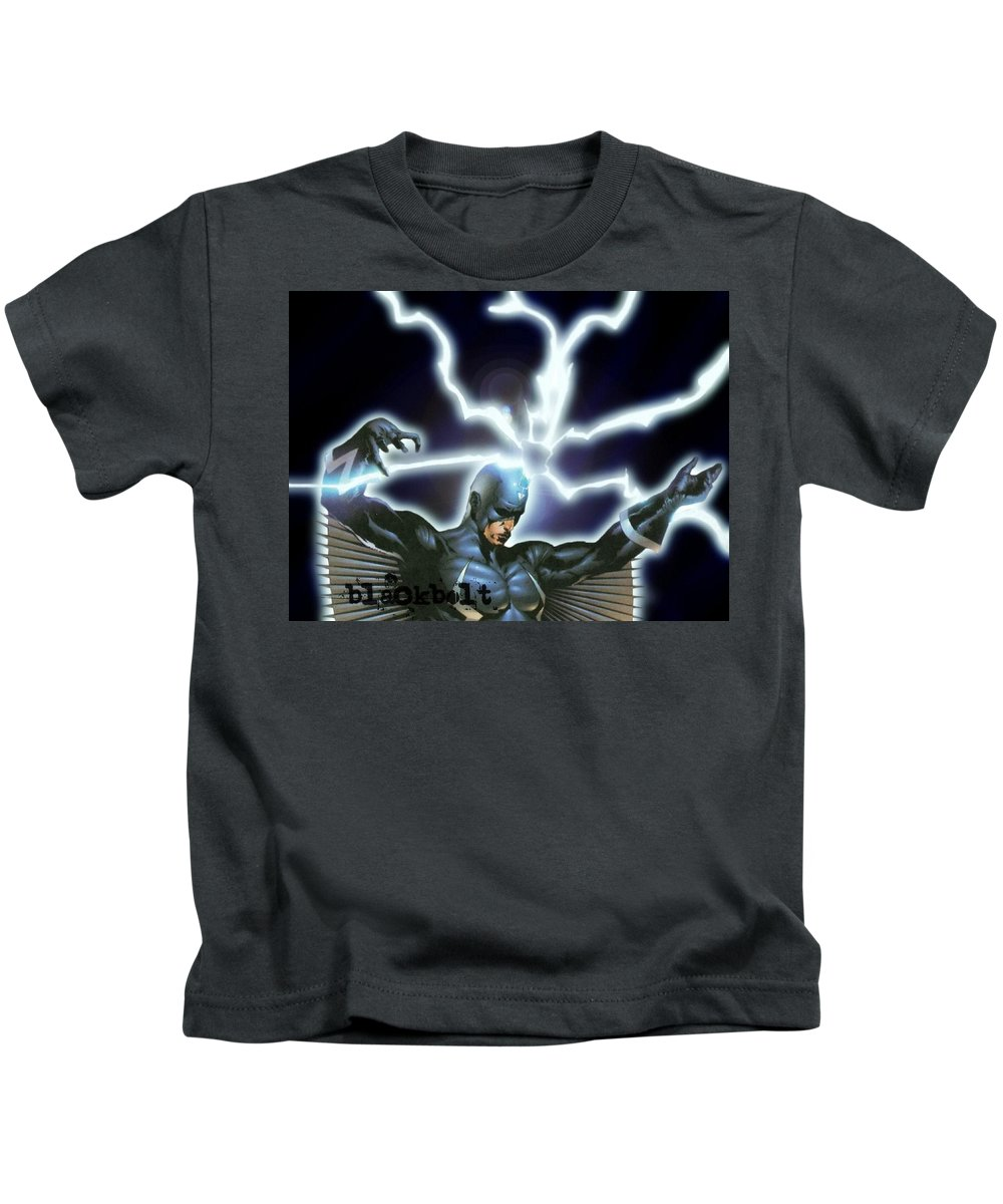 Black Bolt Kids T-Shirt featuring the digital art Black Bolt by Dorothy Binder