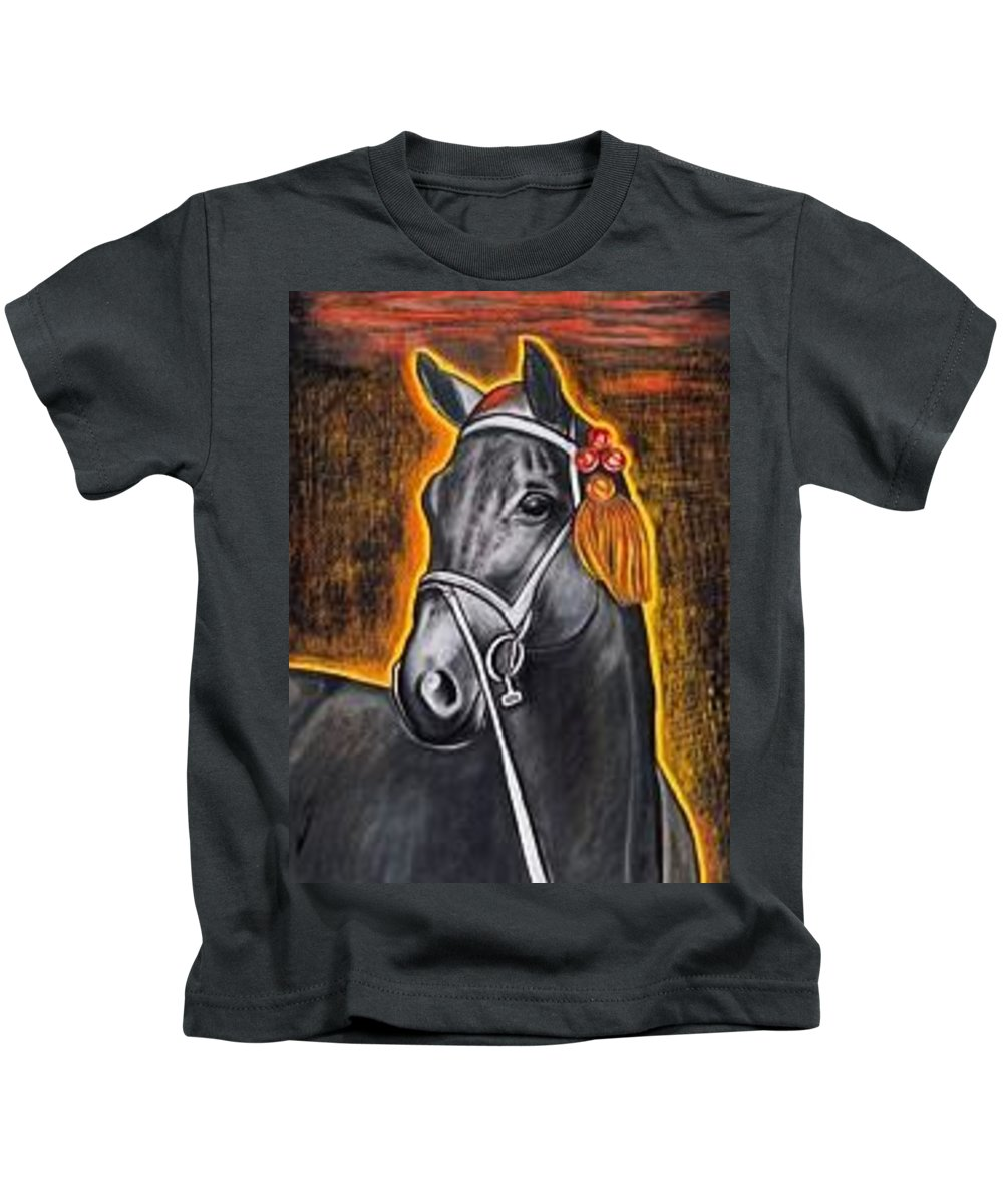 Horse Kids T-Shirt featuring the painting Black Horse by Isabell Von Piotrowski
