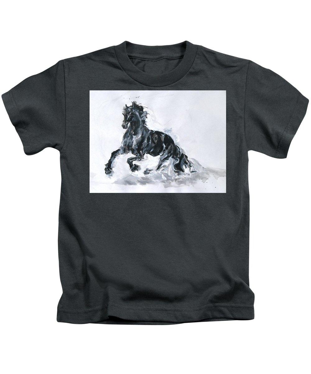 Black Horse Kids T-Shirt featuring the drawing Black Horse by Sviatoslav Alexakhin