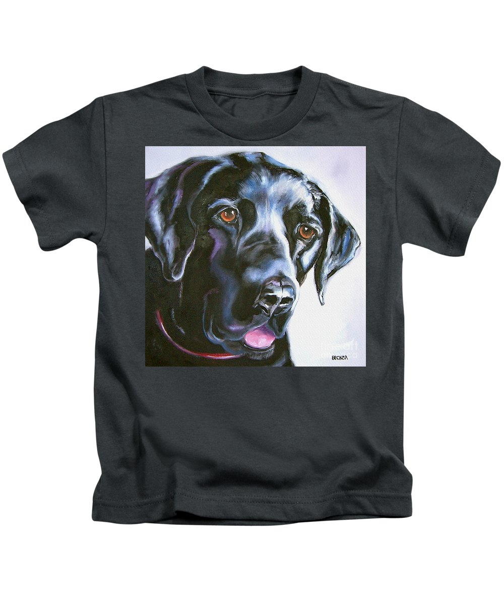 Dogs Kids T-Shirt featuring the painting Black Lab No Ordinary Love by Susan A Becker