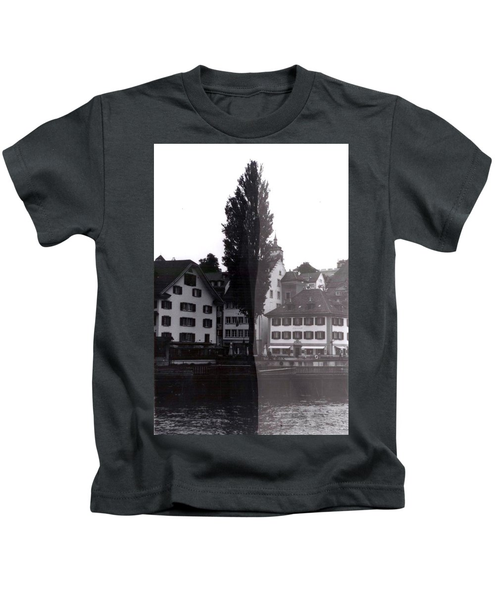 Black And White Kids T-Shirt featuring the photograph Black Lucerne by Christian Eberli