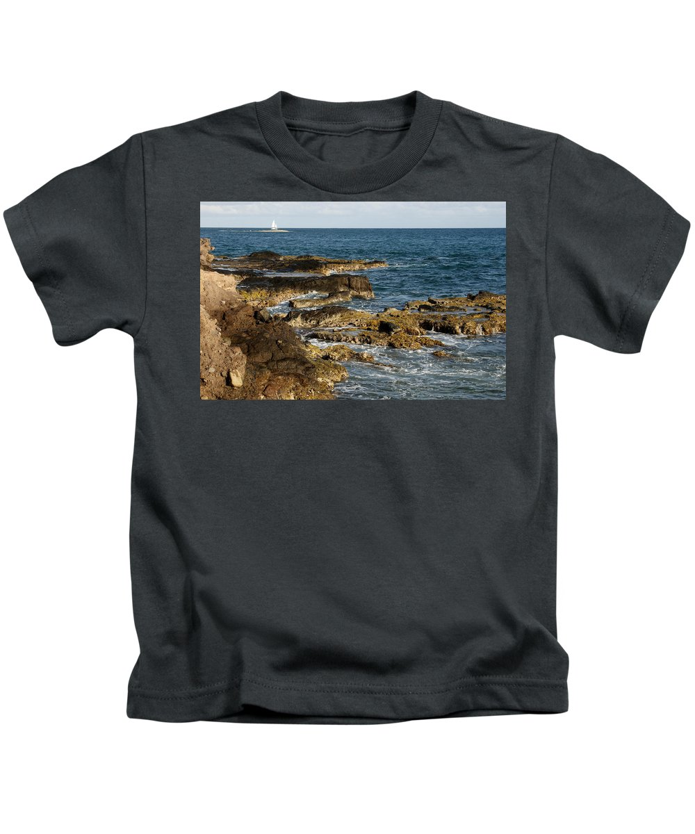 Sailboat Kids T-Shirt featuring the photograph Black Rock Point And Sailboat by Jean Macaluso