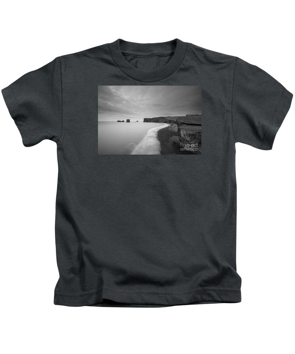 Black Sand Beach Kids T-Shirt featuring the photograph Black Sand Beach Bw by Michael Ver Sprill