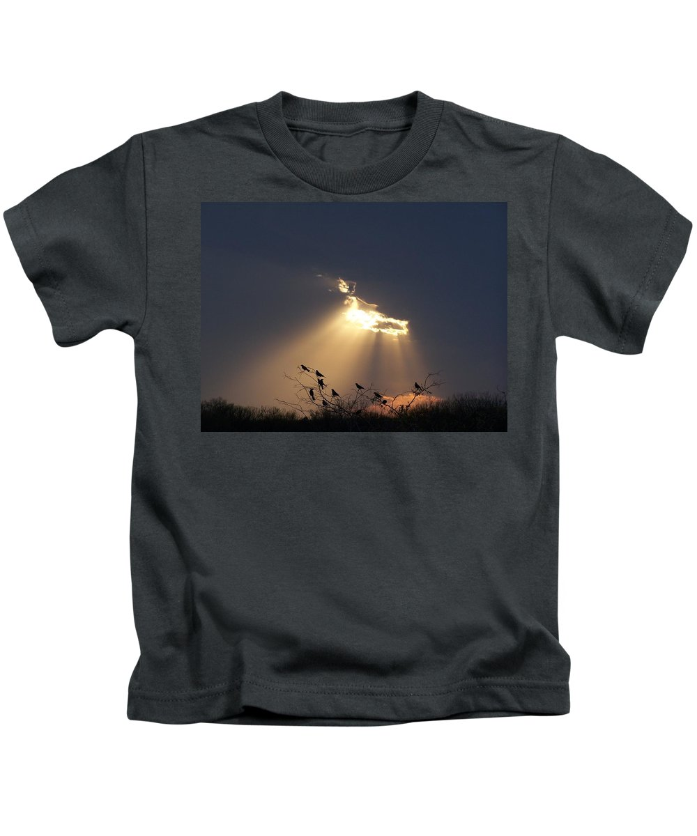 Storm Kids T-Shirt featuring the photograph Blackbird Sky by Gale Cochran-Smith