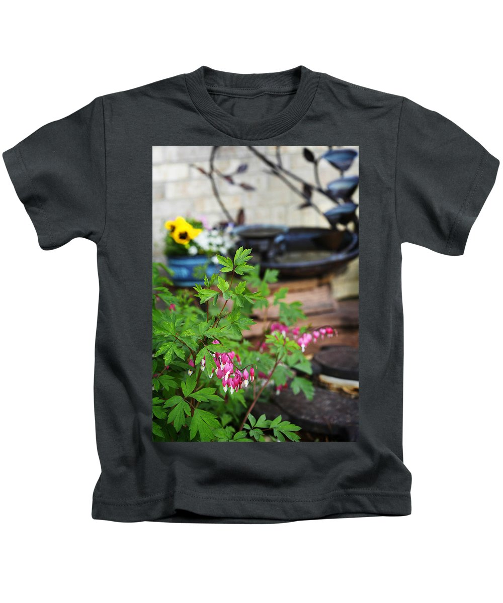 Flower Kids T-Shirt featuring the photograph Bleeding Heart And Fountain by Marilyn Hunt