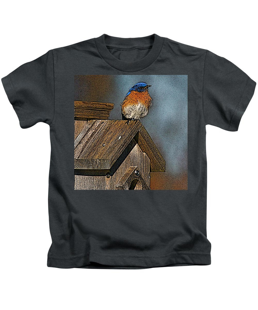 Blue Bird Kids T-Shirt featuring the photograph Blue Bird Songs by Robert Pearson