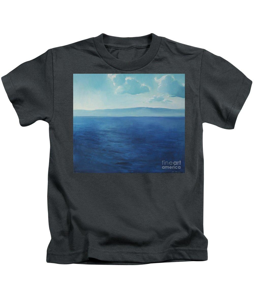 Lin Petershagen Kids T-Shirt featuring the painting Blue Blue Sky Over The Sea by Lin Petershagen