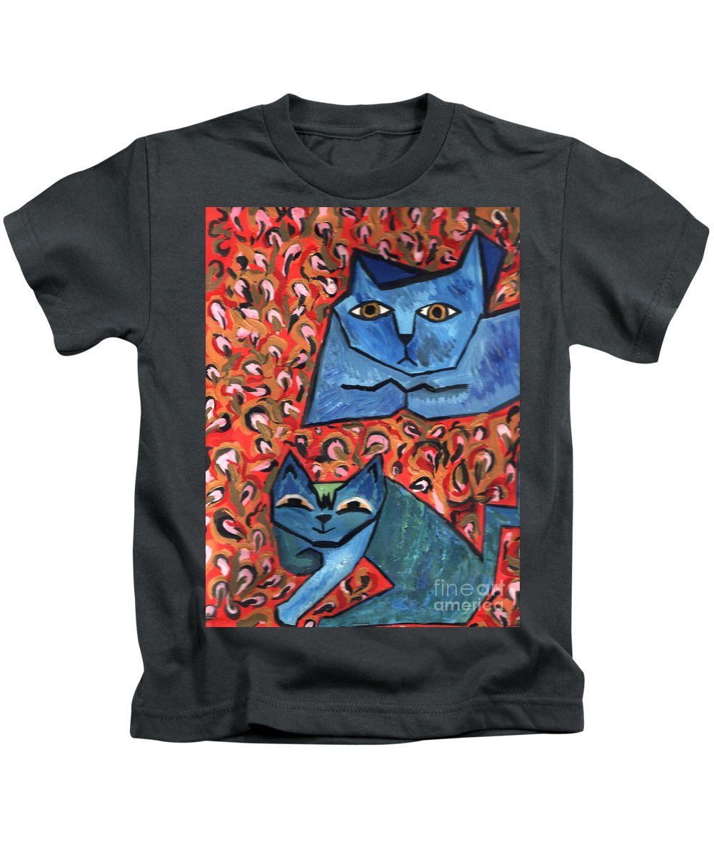 Cat Kids T-Shirt featuring the painting Blue Cats by Heather Lennox