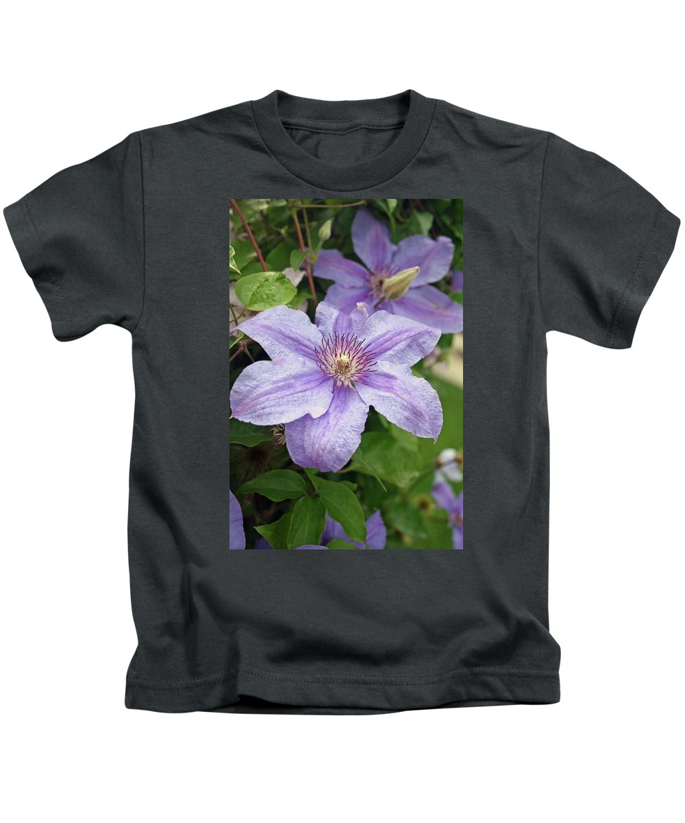 Clematis Kids T-Shirt featuring the photograph Blue Clematis by Margie Wildblood