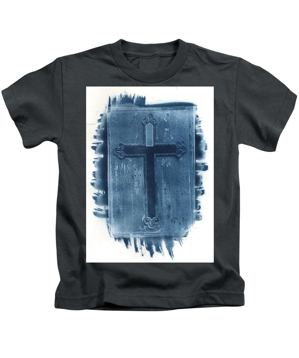 Cyanotype Kids T-Shirt featuring the photograph Blue Cross by Jane Linders