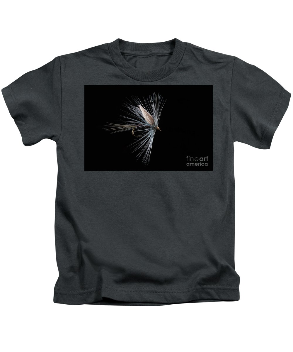 Trout Fishing Fly Kids T-Shirt featuring the photograph Blue Dun by John Edwards
