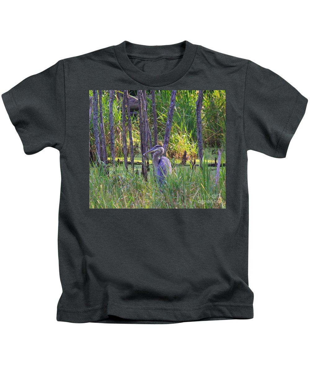 Tags: Kids T-Shirt featuring the photograph Blue Heron-in The Swamp by Robert Pearson