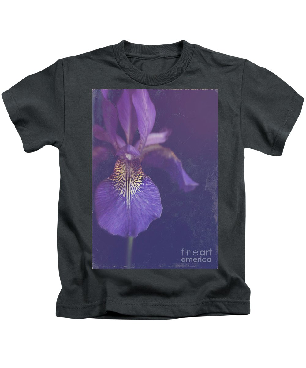 Still Life Kids T-Shirt featuring the photograph Blue Iris by Lyn Randle