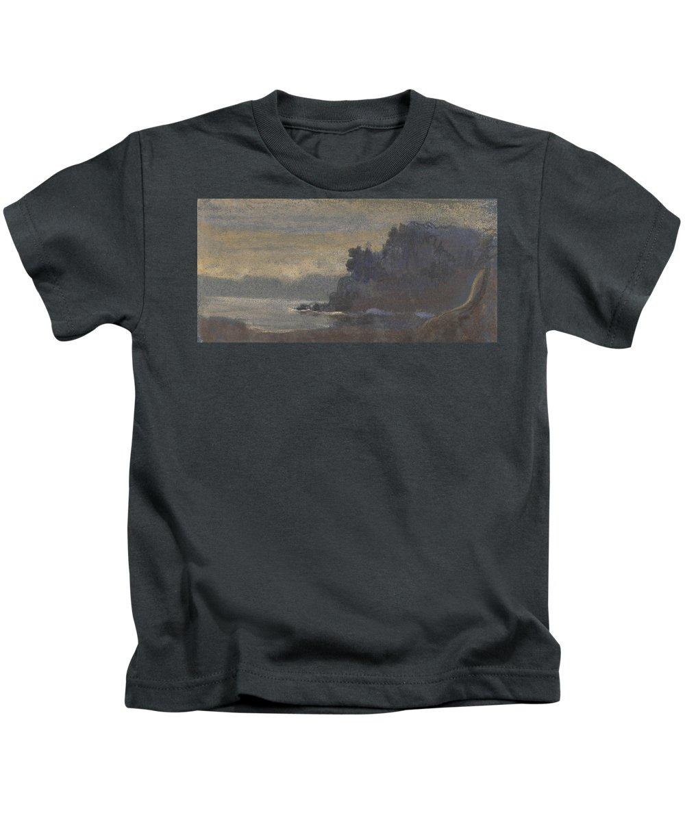 19th Century Art Kids T-Shirt featuring the pastel Blue Landscape by Arthur Bowen Davies