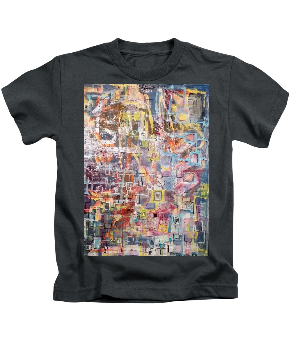 Abstract Kids T-Shirt featuring the drawing Blue by Martha Wherry