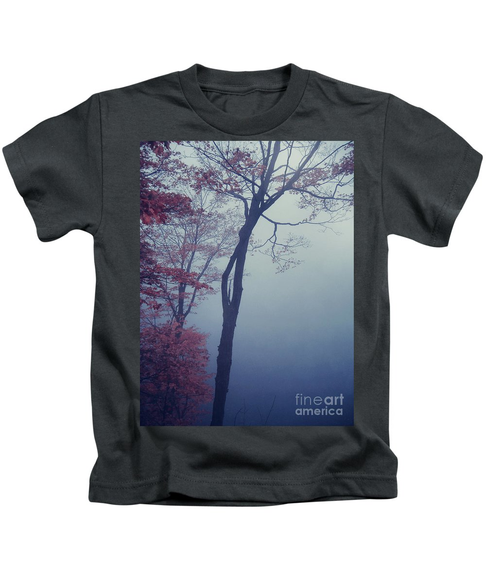 Tree Photograph Kids T-Shirt featuring the photograph Blue Mist by Aimelle