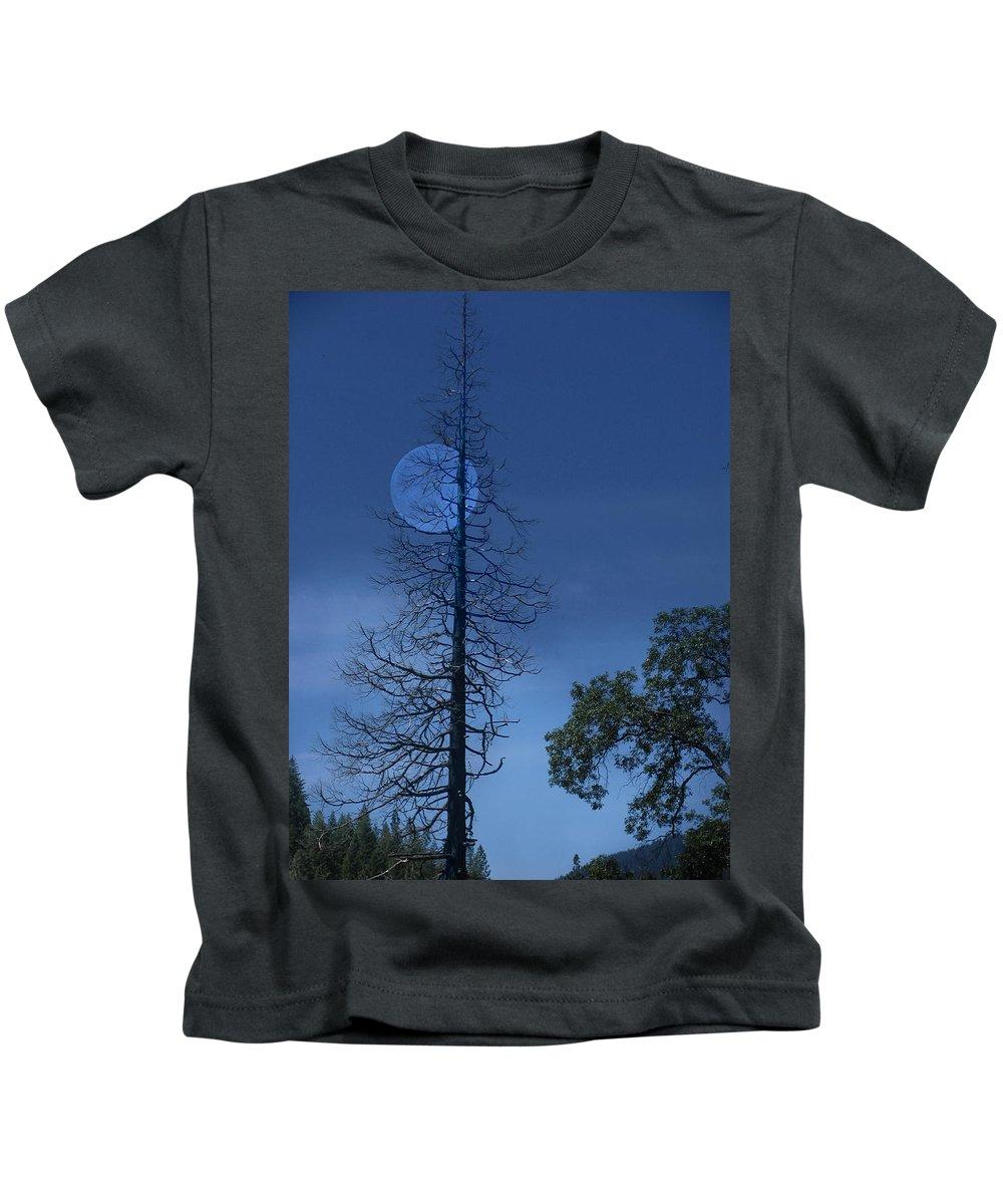 Landscape Kids T-Shirt featuring the photograph Blue Moon by Karen W Meyer