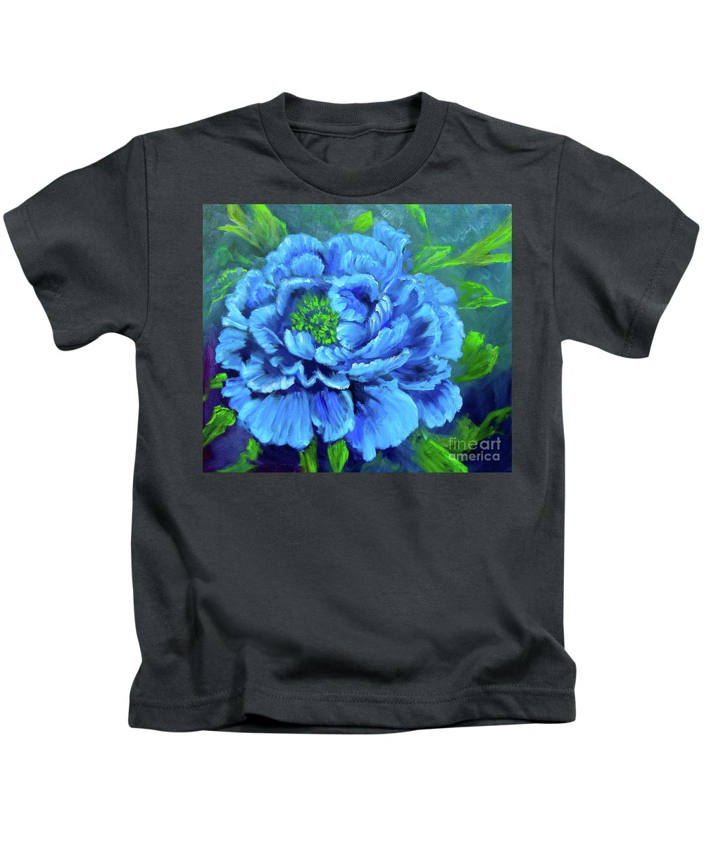 Peony Kids T-Shirt featuring the painting Blue Peony Jenny Lee Discount by Jenny Lee