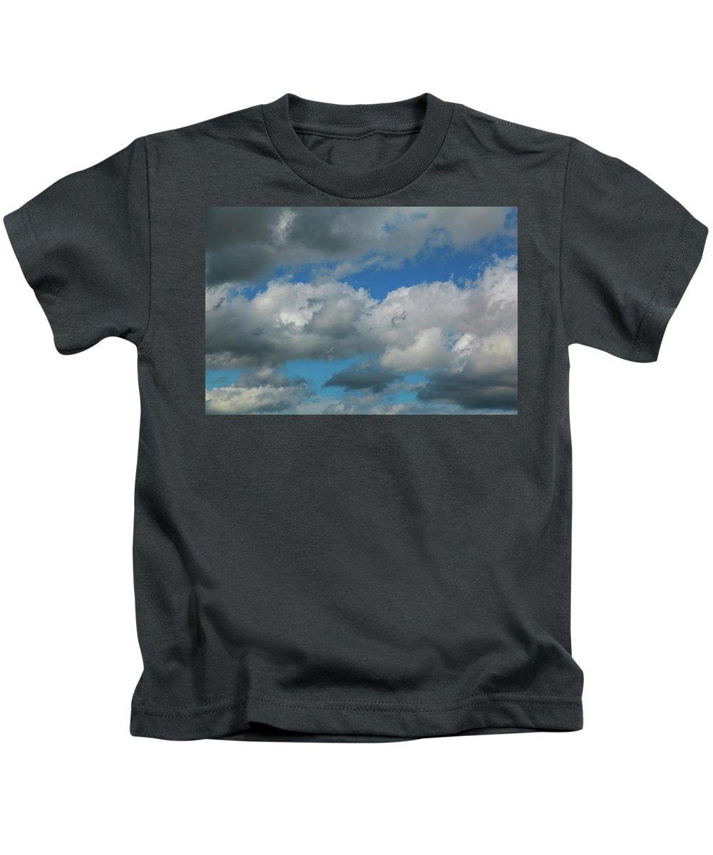 Altitude Kids T-Shirt featuring the photograph Blue Perfect Sky Sea Of Clouds From High Altitude Space by Valentyn Semenov