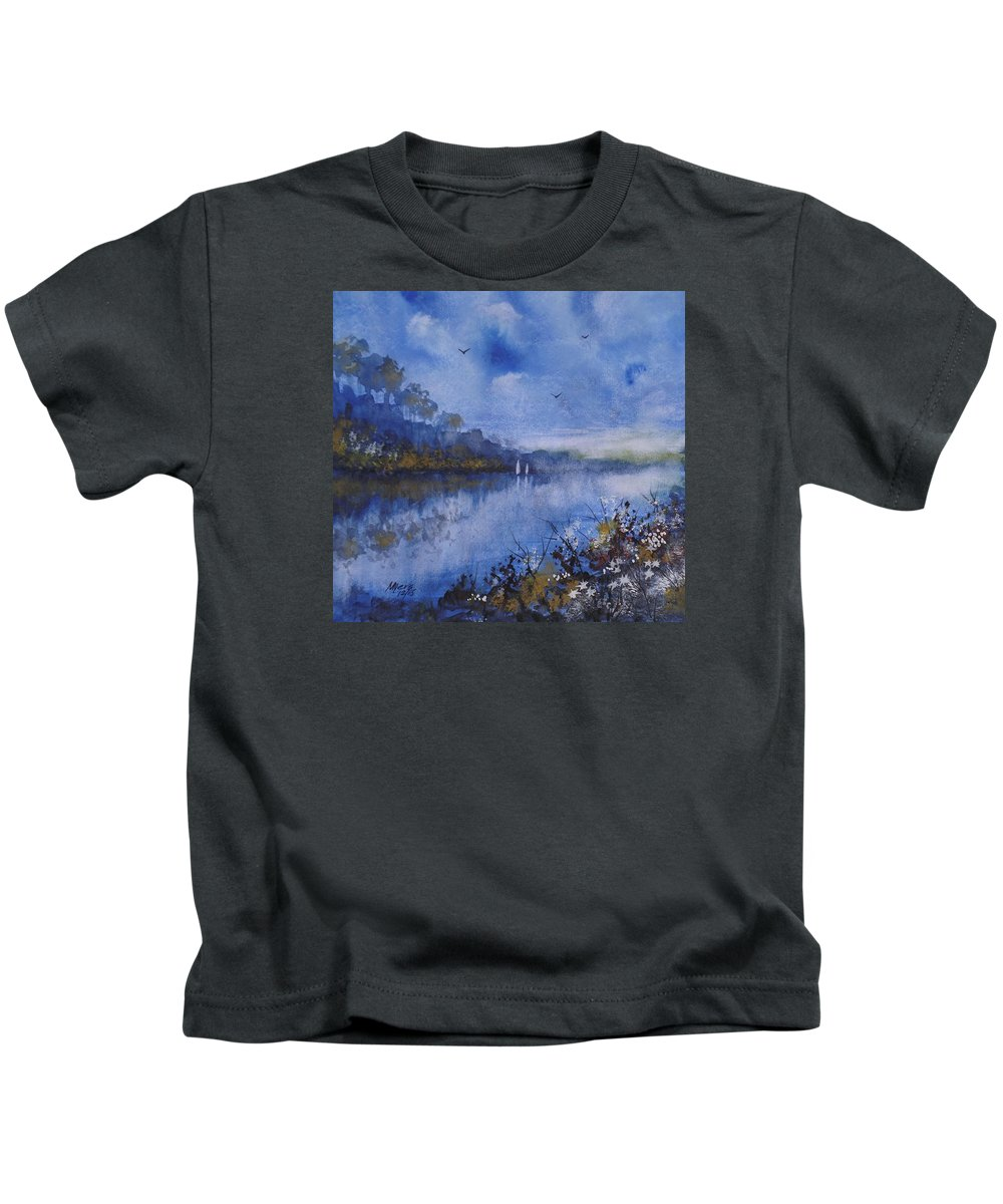 Sailing Kids T-Shirt featuring the painting Blue Sail, Watercolor Painting by David K Myers