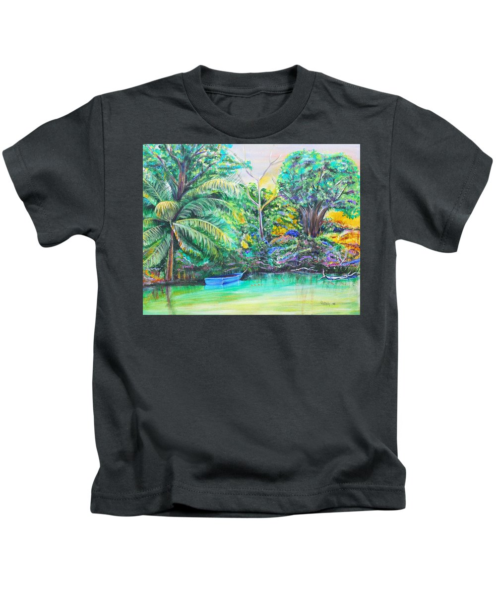 Lagoon Kids T-Shirt featuring the painting Blue Skiff by Patricia Piffath