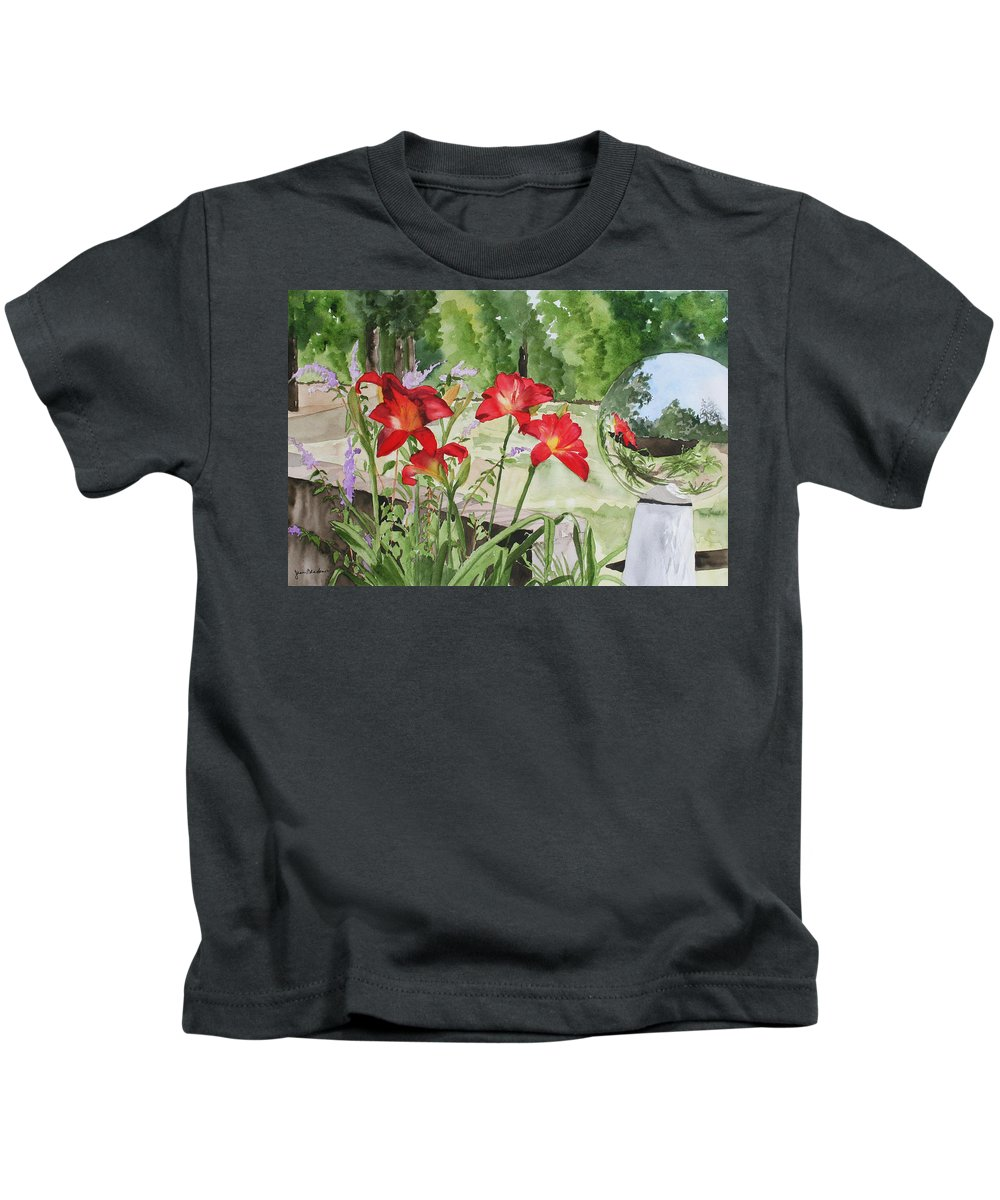 Flowers Kids T-Shirt featuring the painting Blue Sky Reflections by Jean Blackmer