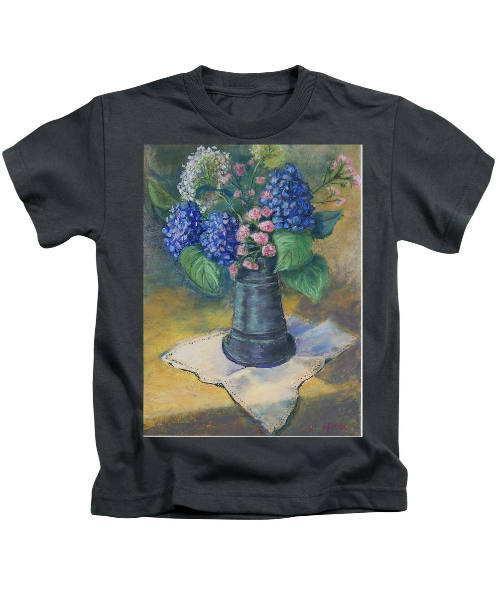 Flowers Kids T-Shirt featuring the painting Blue Summer by Laurie Paci