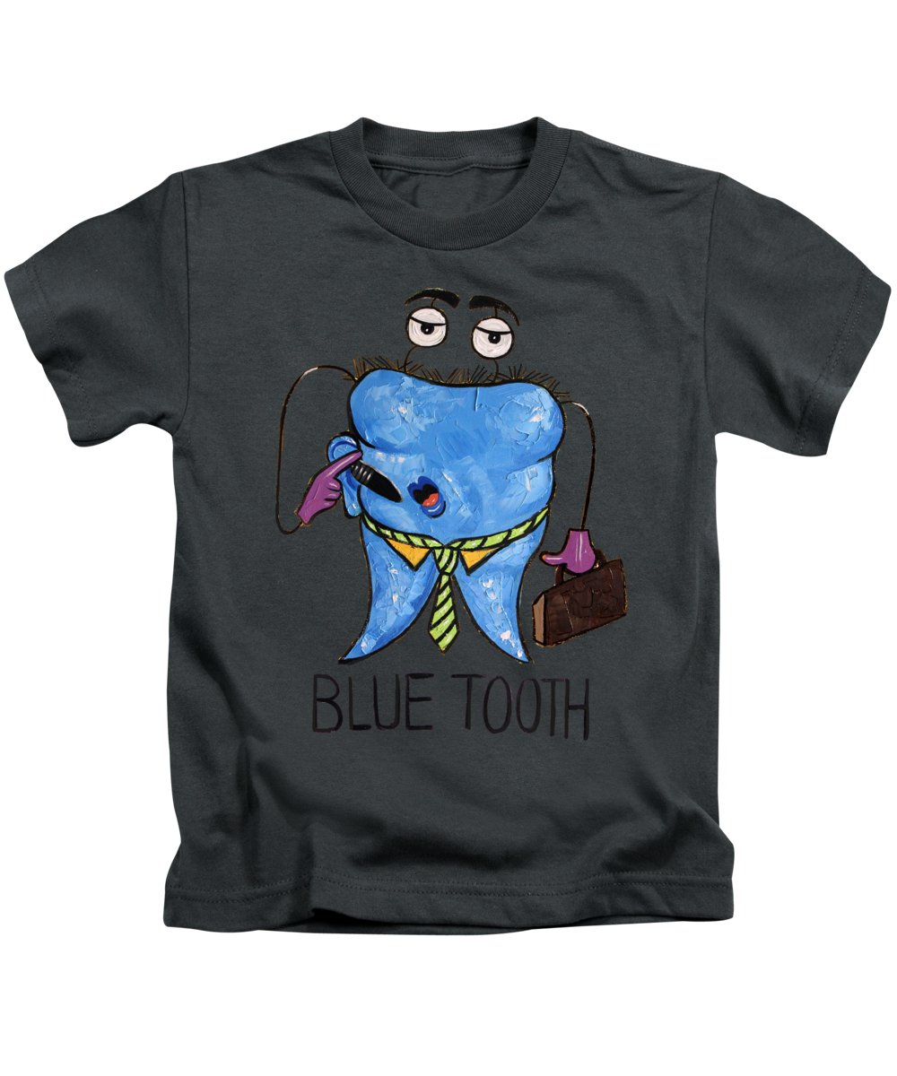 Blue Tooth Kids T-Shirt featuring the painting Blue Tooth by Anthony Falbo