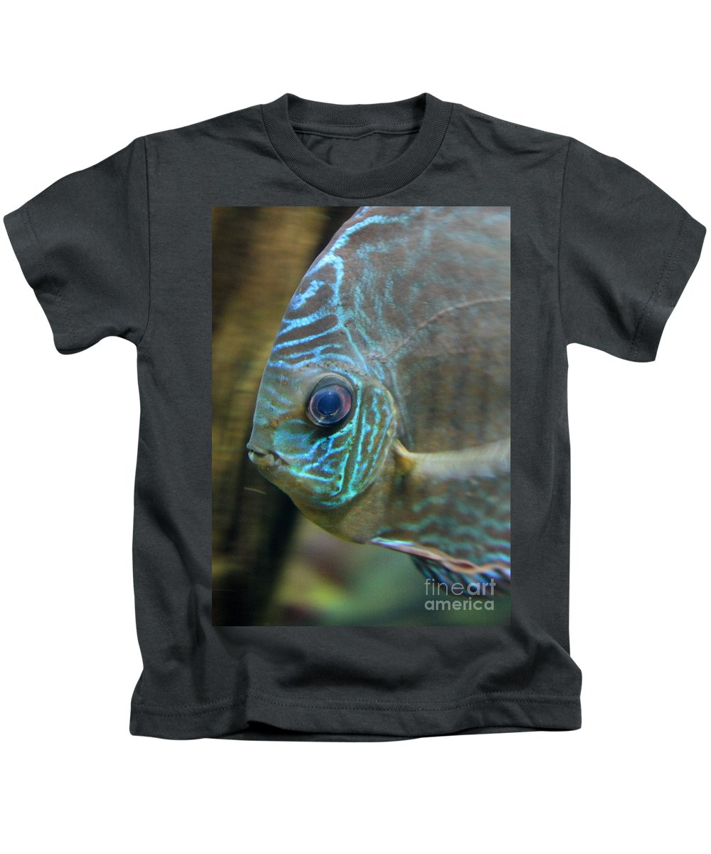 Blue Fish Kids T-Shirt featuring the greeting card Blue Tropical Fish by Carol Groenen