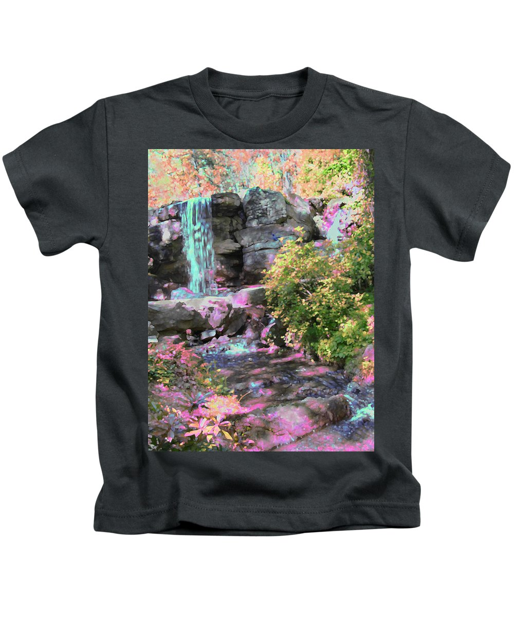 Waterfall Kids T-Shirt featuring the photograph Blue Waterfall by Anne Cameron Cutri