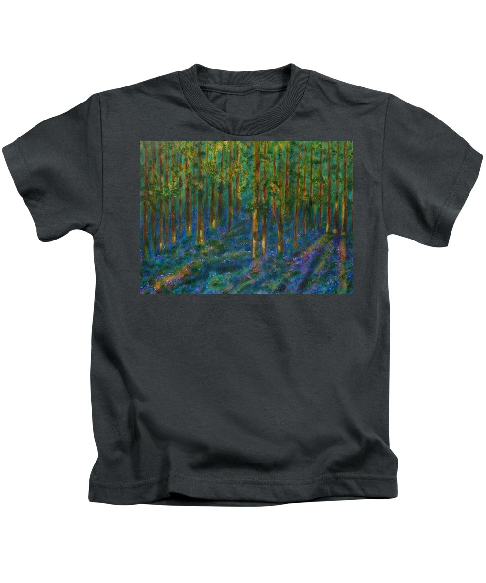 Bluebells Kids T-Shirt featuring the painting Bluebells by Claire Bull
