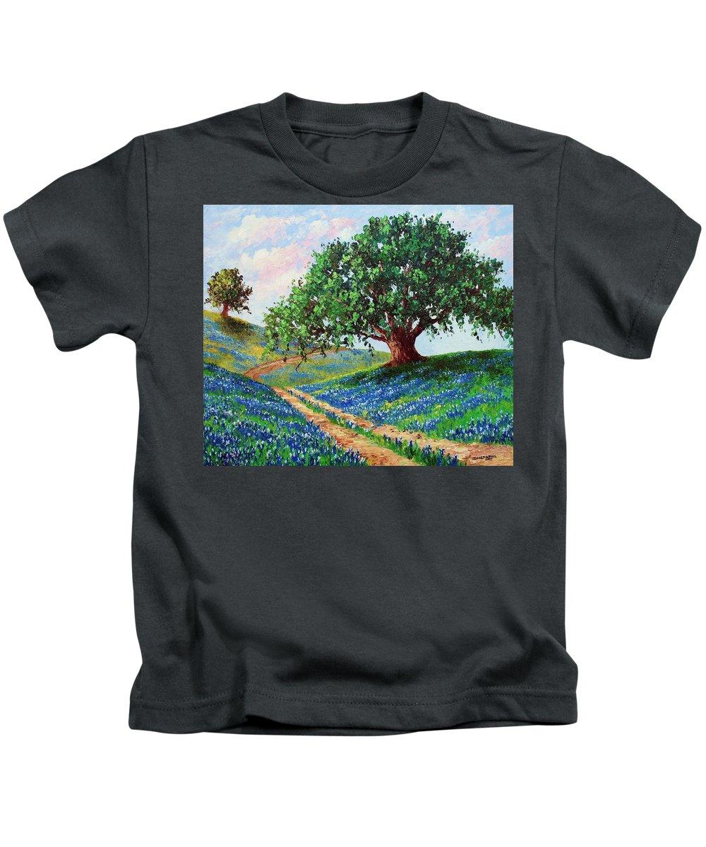 Bluebonnet Kids T-Shirt featuring the painting Bluebonnet Road by David G Paul