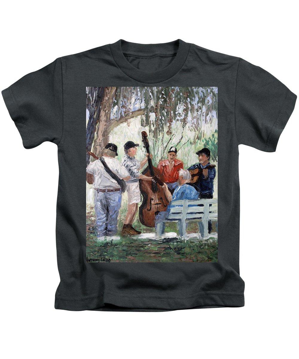 Bluegrass In The Park Framed Prints Kids T-Shirt featuring the painting Bluegrass In The Park by Anthony Falbo