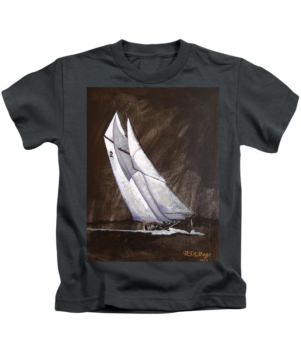 Bluenose Kids T-Shirt featuring the painting Bluenose At Night Coming by Richard Le Page