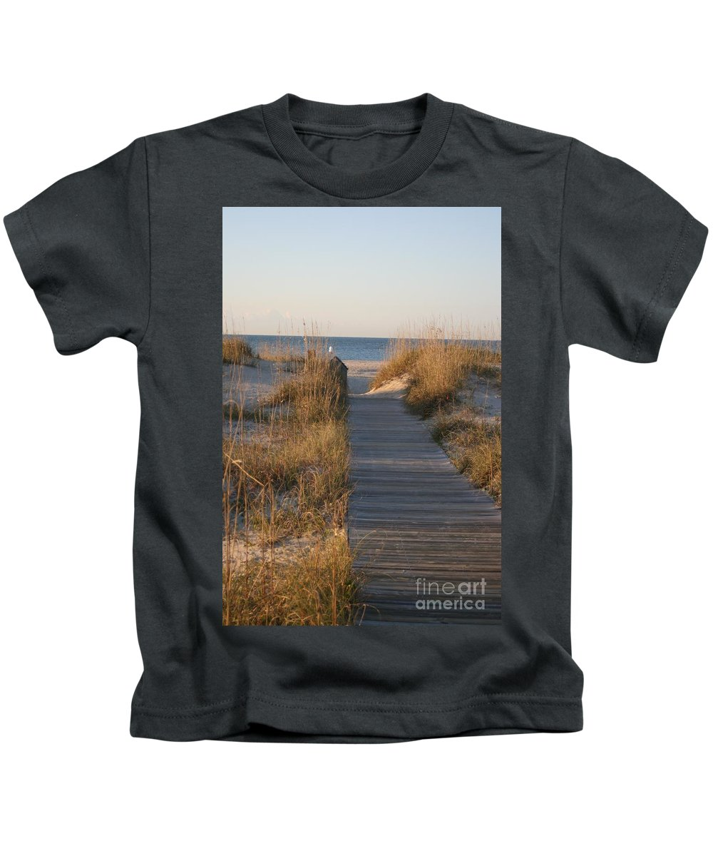 Boardwalk Kids T-Shirt featuring the photograph Boardwalk To The Beach by Nadine Rippelmeyer
