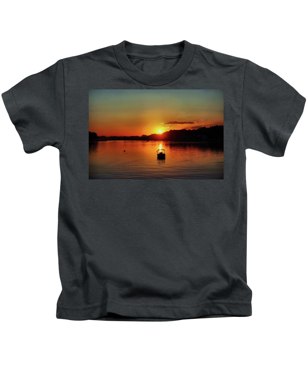 Boat Kids T-Shirt featuring the digital art Boat In Sunset Glow by Lilia D