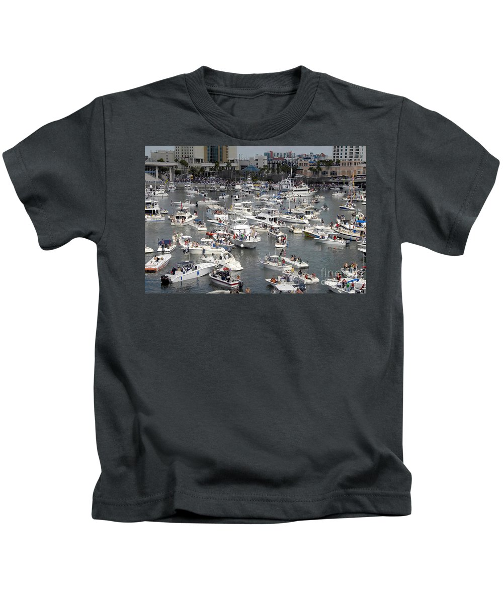 Boats Kids T-Shirt featuring the photograph Boat Party by David Lee Thompson