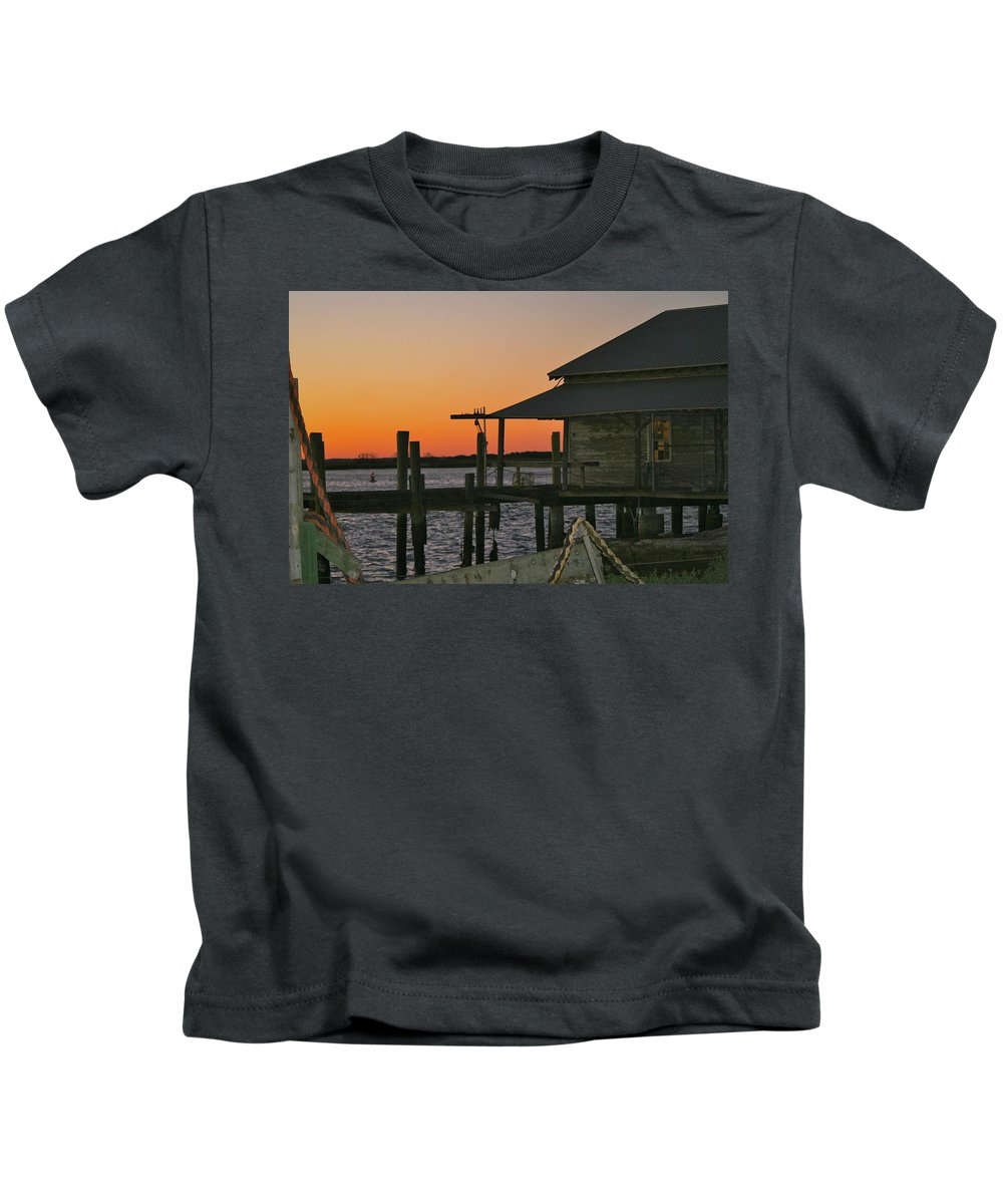 Boathouse Kids T-Shirt featuring the photograph Boathouse Sunset by Beverly Cummiskey