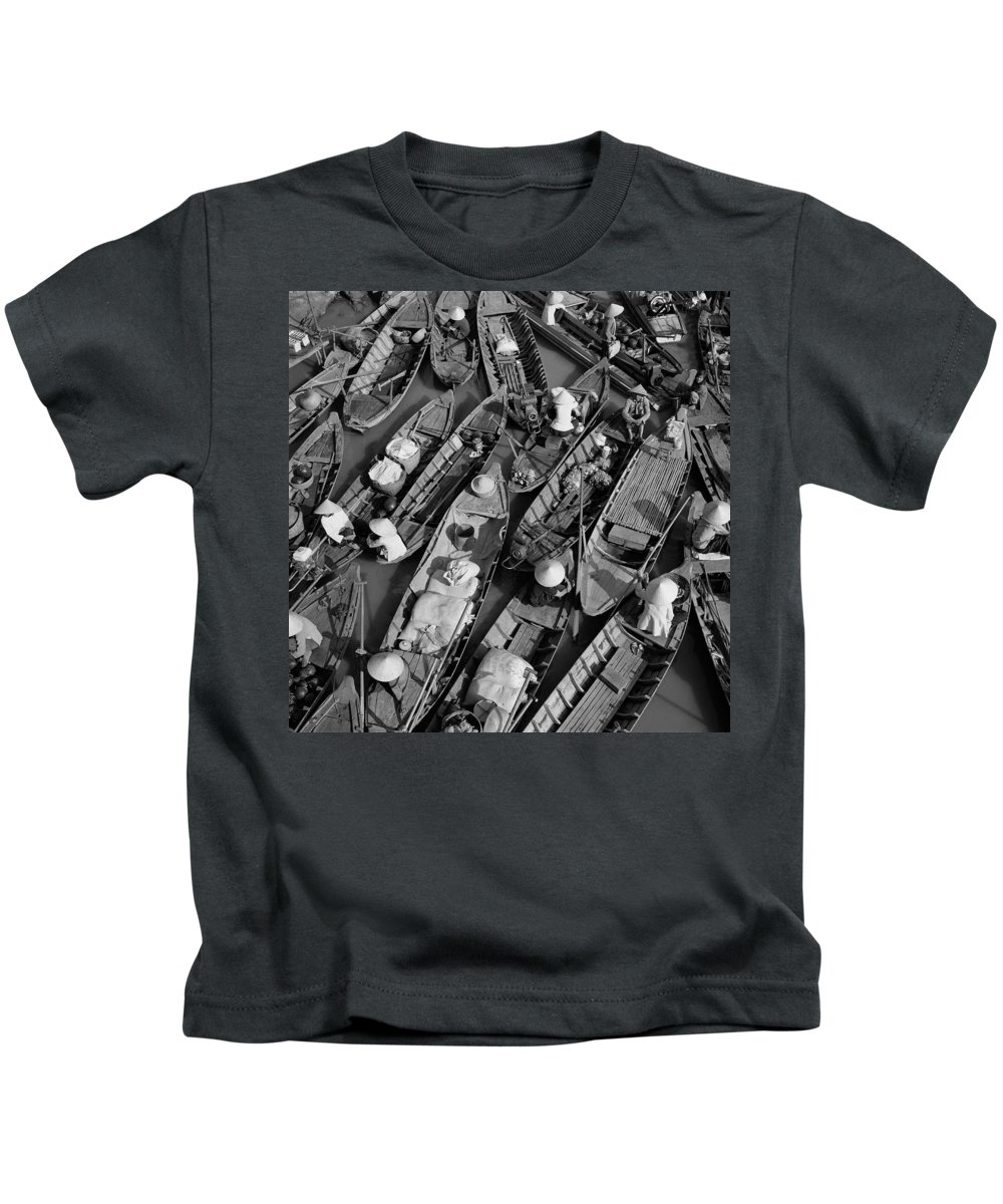 Aerial Image Kids T-Shirt featuring the photograph Boats, Hoi An, Vietnam by Huy Lam