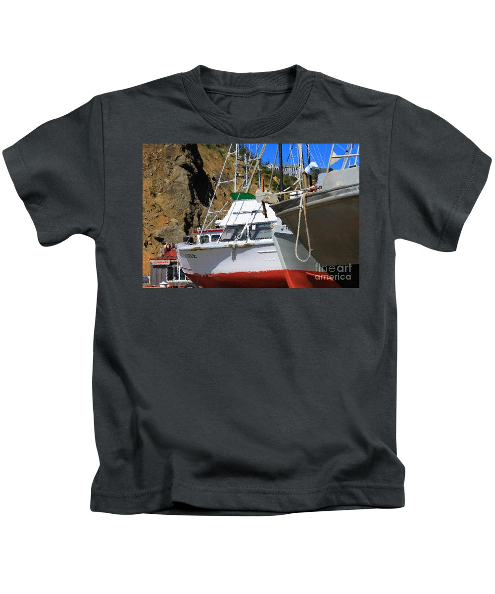 Anchor Kids T-Shirt featuring the photograph Boats In Drydock by James Eddy