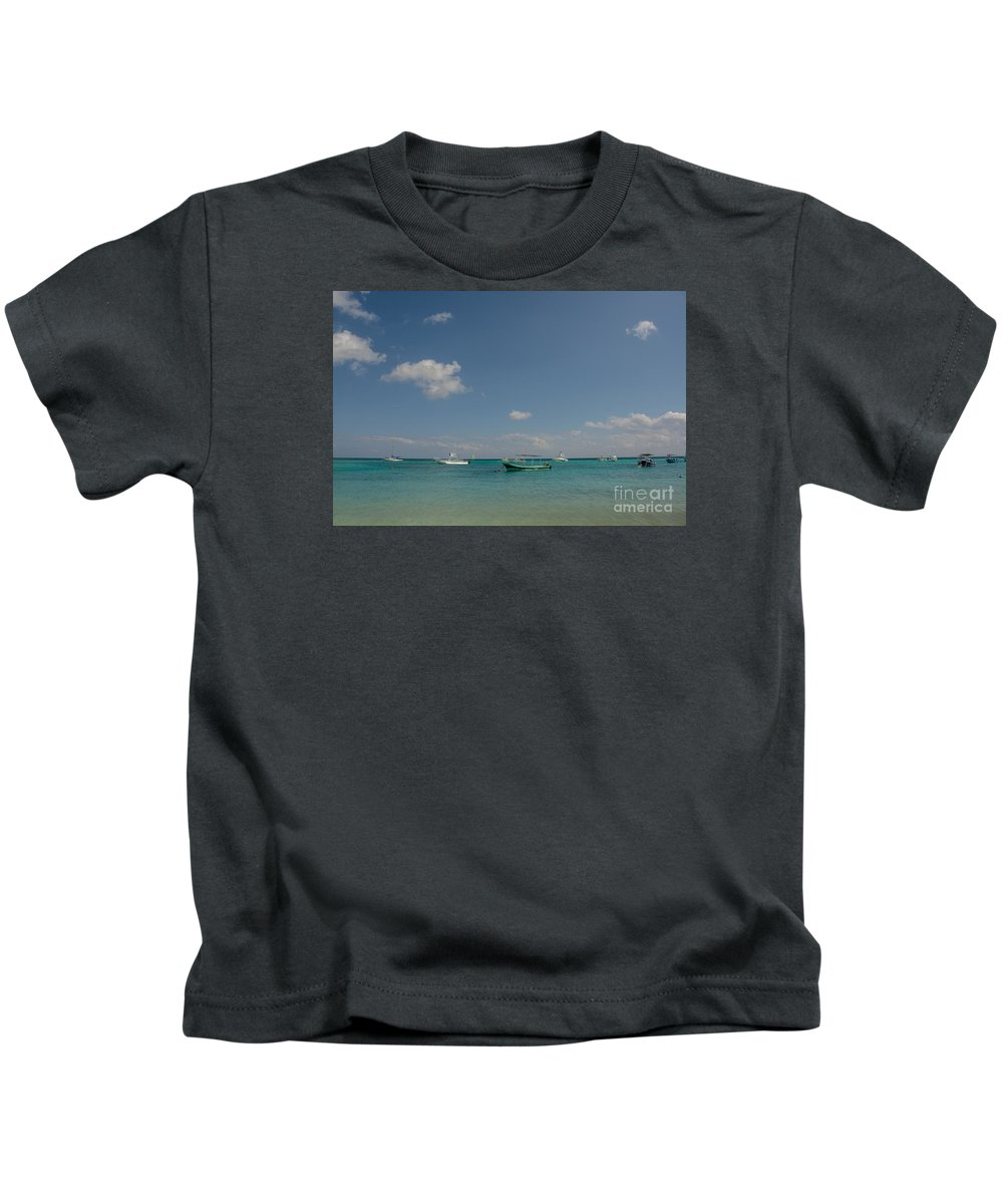 Cheryl Baxter Photography Kids T-Shirt featuring the photograph Boats On The Ocean by Cheryl Baxter