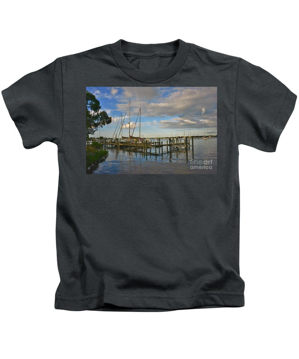 Kids T-Shirt featuring the photograph Boatworks 3 by Lisa Renee Ludlum