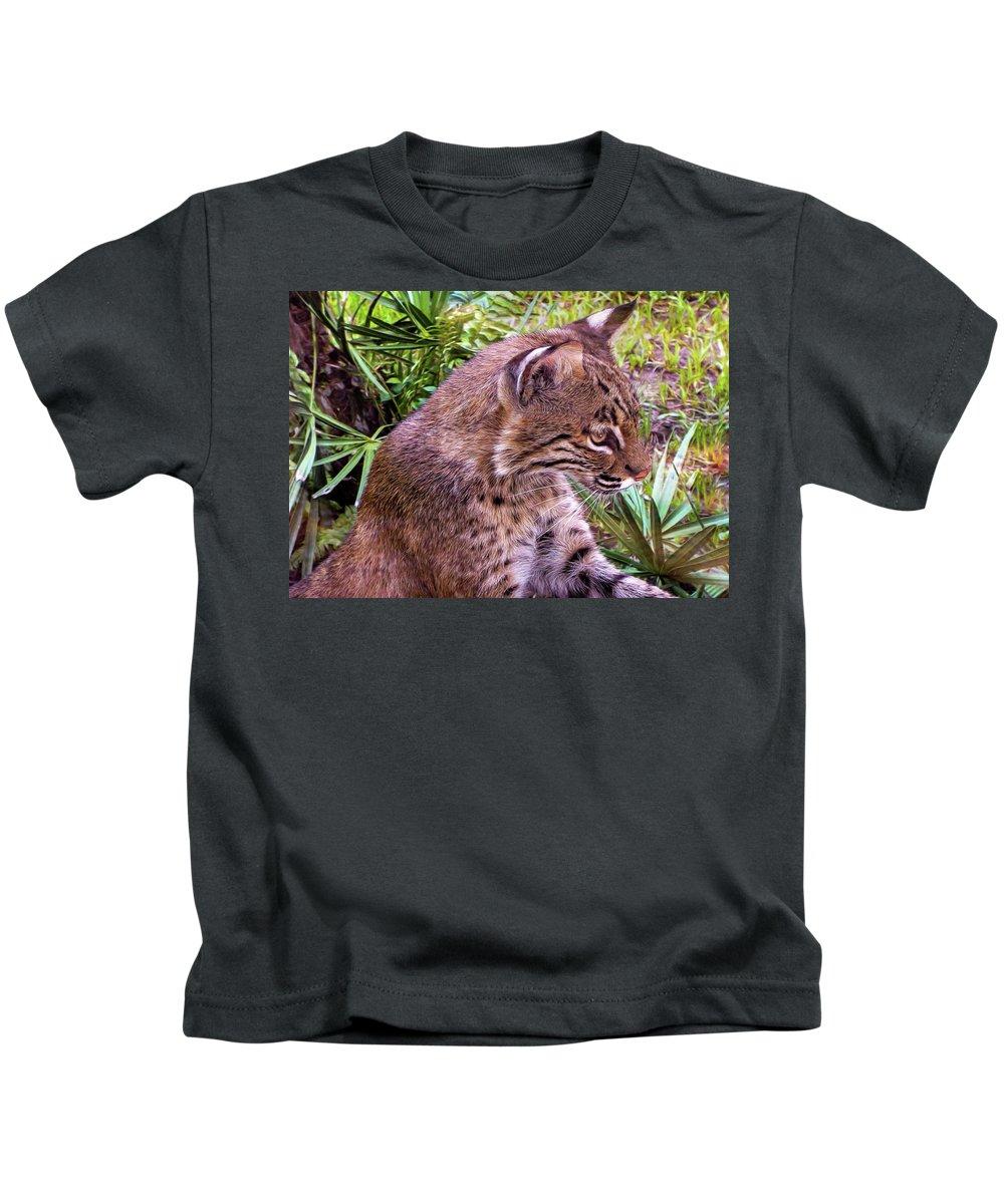 Bobcat Kids T-Shirt featuring the photograph Bobcat by Deborah Ferrence