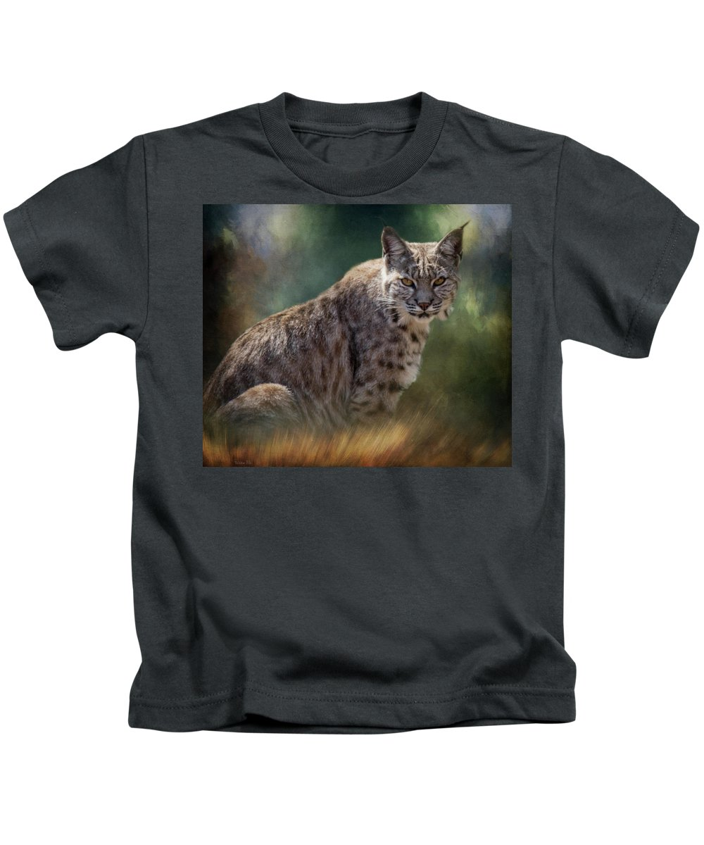 Tl Wilson Photography Kids T-Shirt featuring the photograph Bobcat Gaze by Teresa Wilson