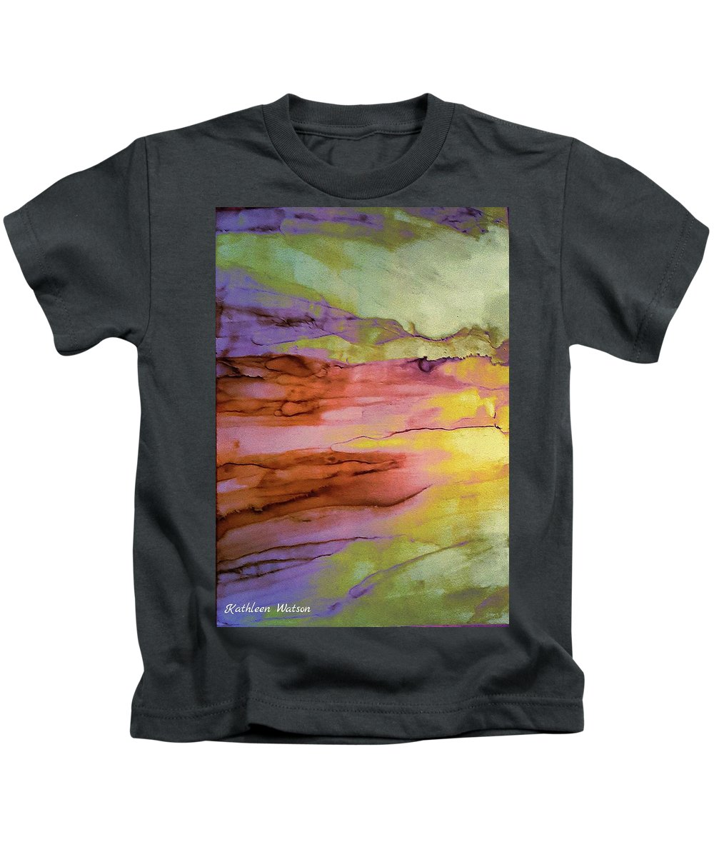 Abstract Kids T-Shirt featuring the painting Bodhi -- Enlightenment, Awakening by Kathleen Watson