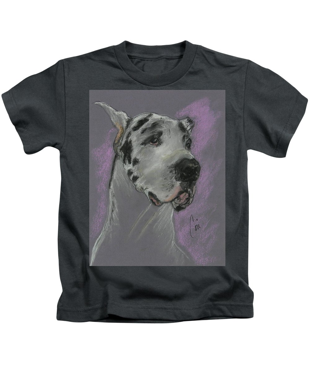 Great Dane Kids T-Shirt featuring the drawing Bodhi's Mystique by Cori Solomon