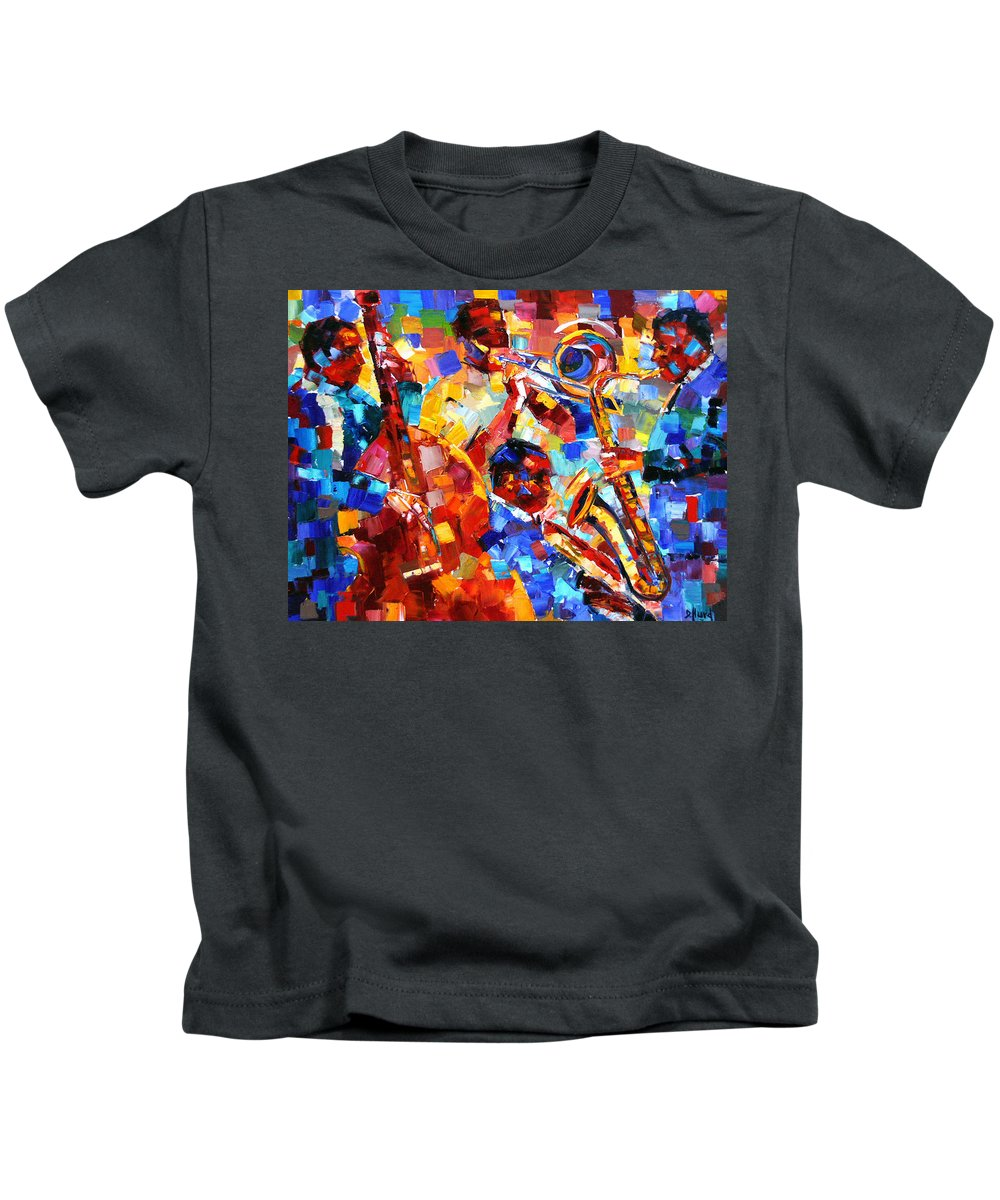 Jazz Kids T-Shirt featuring the painting Bold Jazz Quartet by Debra Hurd