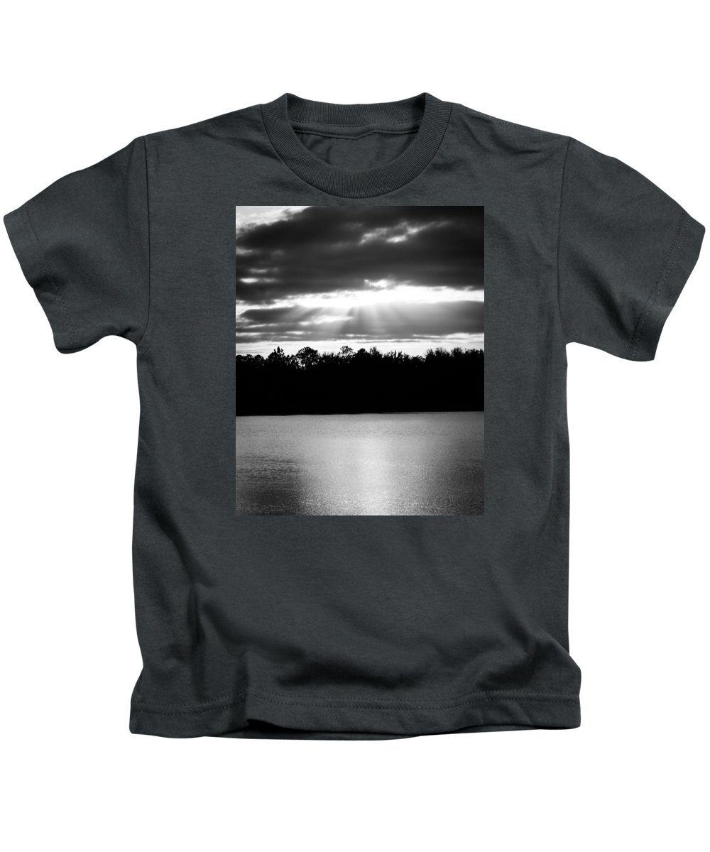 Monochrome Kids T-Shirt featuring the photograph Bold Rays Monochrome by Parker Cunningham