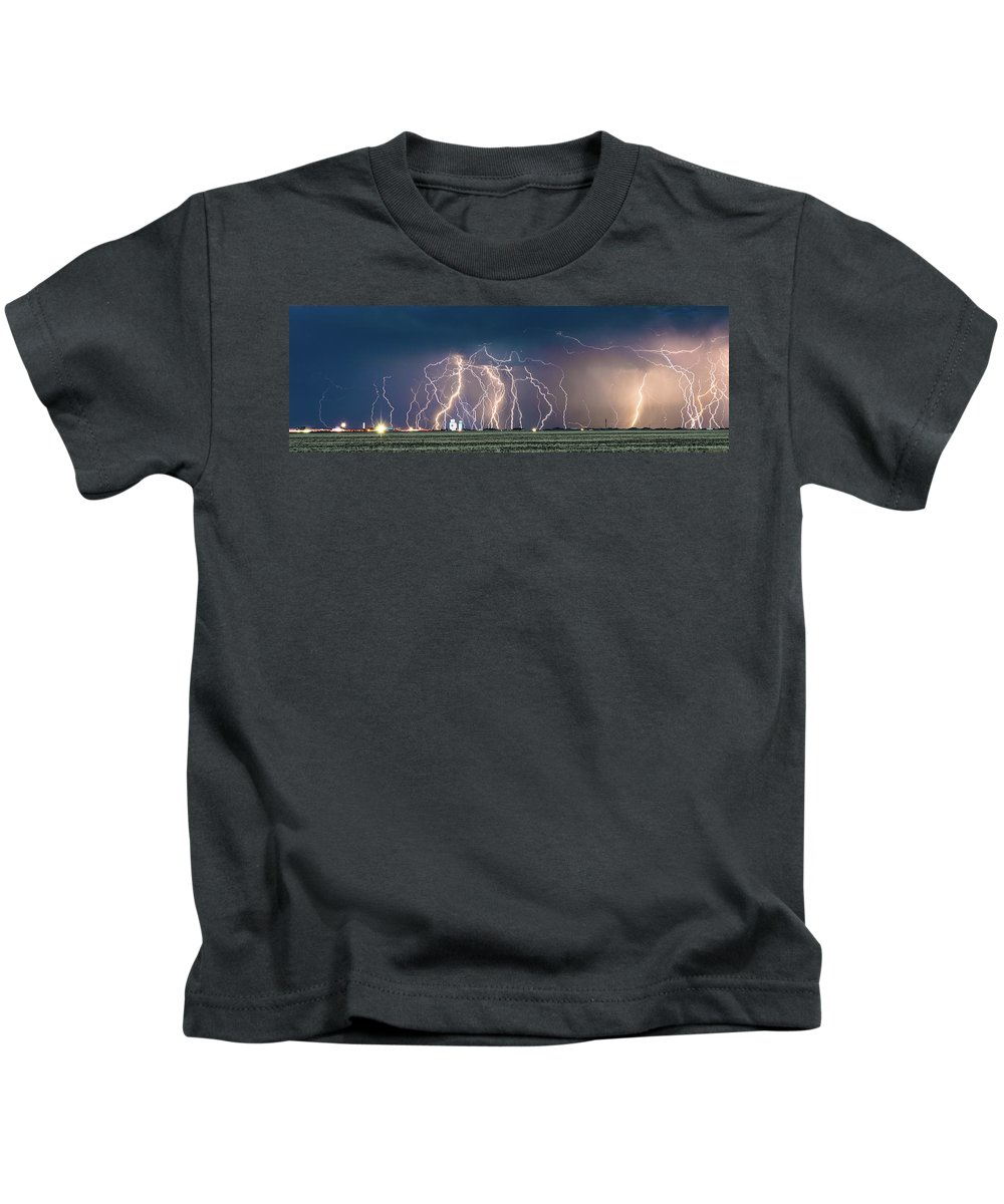 Lightning Kids T-Shirt featuring the photograph Bolts Over Bushland by Brandon Green