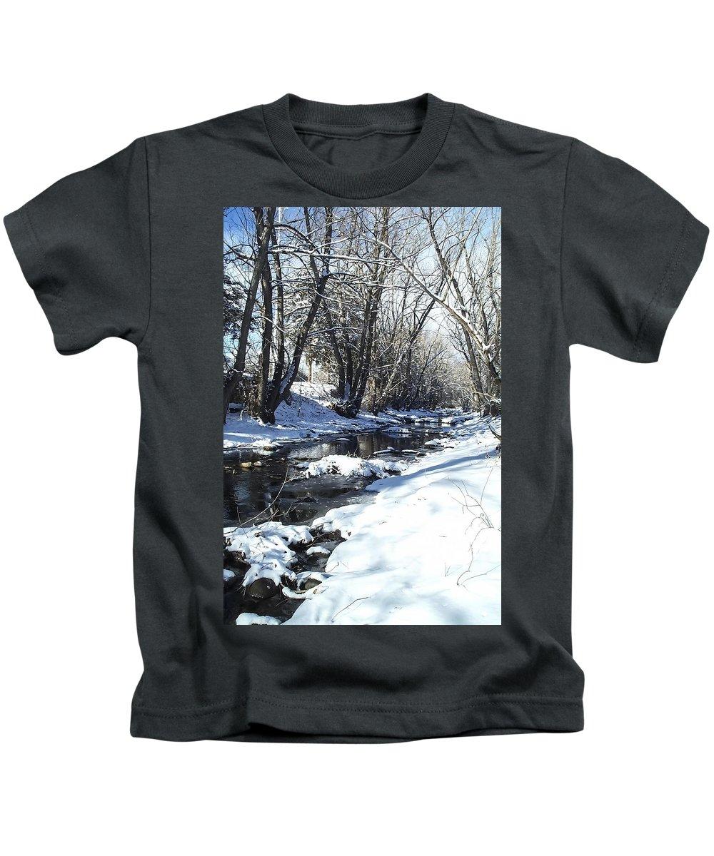 Winter Kids T-Shirt featuring the photograph Boulder Creek After A Snowstorm by NaturesPix